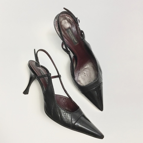 Dolce & Gabbana Black Leather Pointed Toe Gold Buckle Slingback Shoe Pump